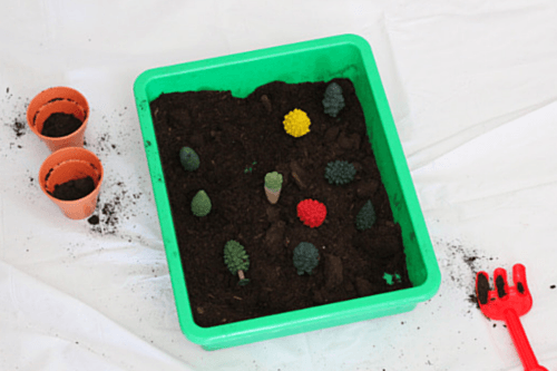 Plant a forest of trees in this sensory bin