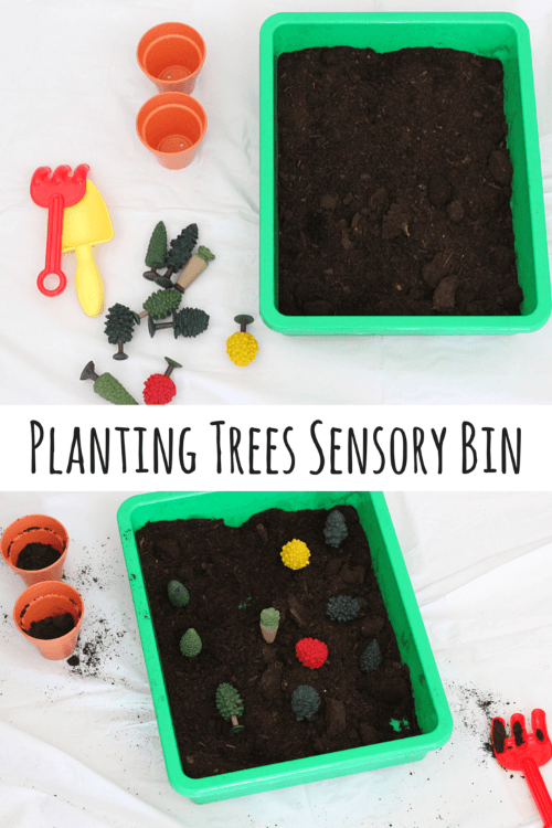 Planting Trees Sensory Bin. This is a great activity for Earth Day or Arbor Day!