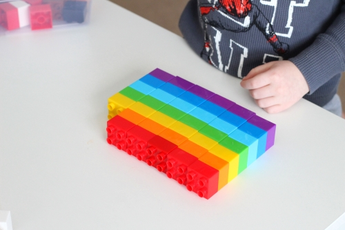 Repeat the rainbow pattern over and over again with the blocks