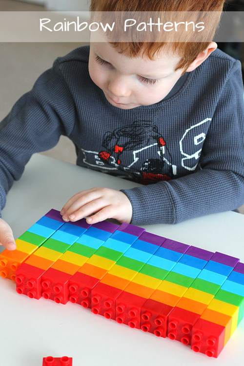 Rainbow Patterns with Blocks. This math and engineering activity is so much fun for kids!