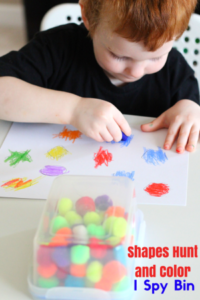 Rainbow Shapes Hunt and Color I Spy Bin