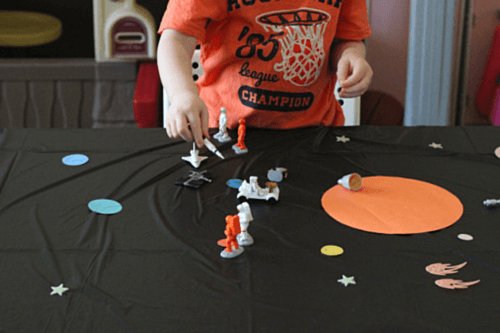 Learn about space while playing on this fun space scene!