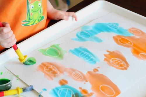 Watercolor resist Easter egg hunt for kids