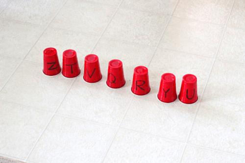 Kick the Cup Alphabet Activity for ball theme