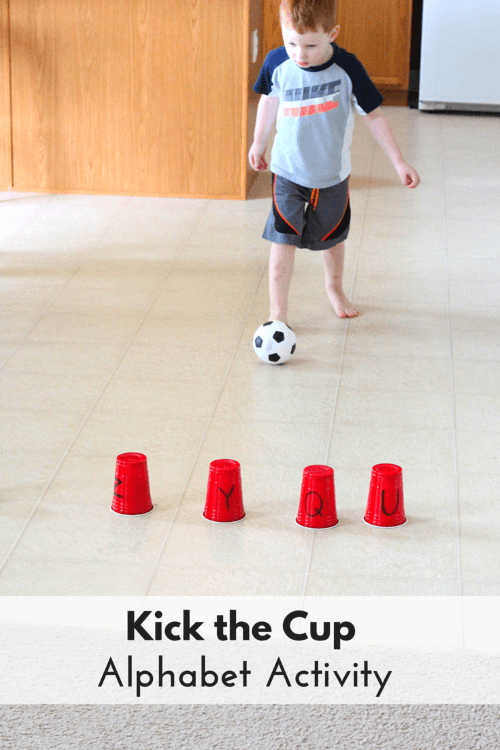 Ball theme alphabet activity kick the cup for Motor activities for preschoolers