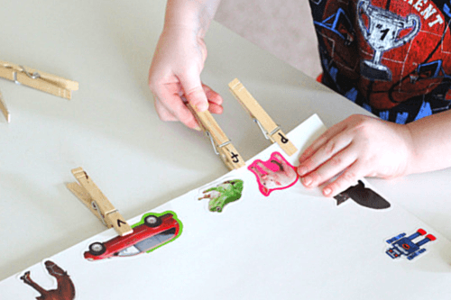 Clip clothespin with letter on it to matching beginning sound