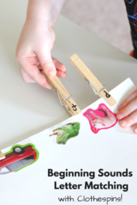 Beginning Sounds Letter Matching with Clothespins