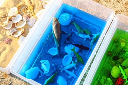 Add animals to the appropriate bin - ocean, lake, sand or grass