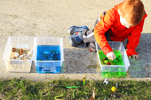Kids will enjoy playing in these Earth Day sensory bins