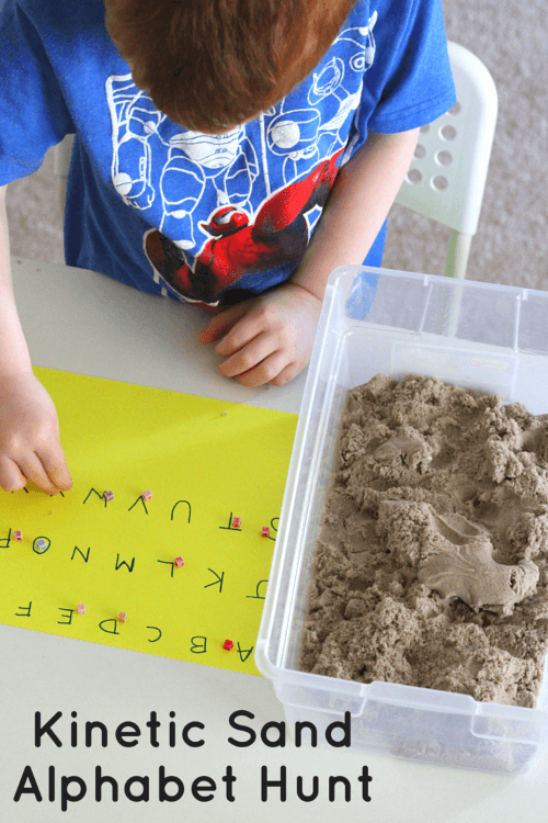 Kinetic Sand Alphabet Hunt with Letter Beads