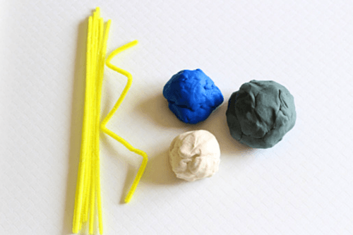 Gray, blue and white play dough plus yellow pipe cleaners and you can make a thunderstorm