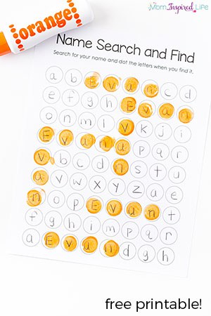 Teach kids to recognize and spell their name with this hands-on name search and find printable!