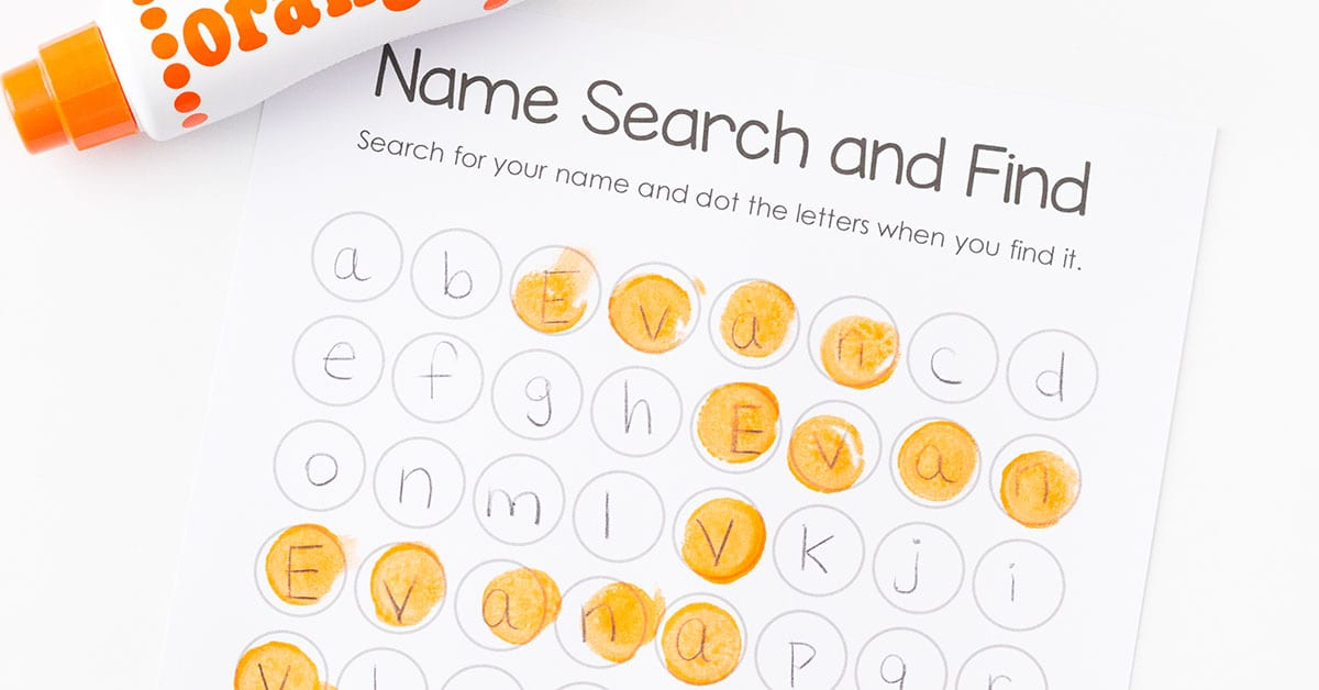super fun name search activity and free printable - Search And Find Pictures Printable