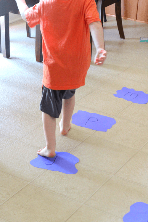 Puddle jumping while learning letter sounds in this alphabet activity