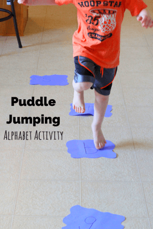 Puddle jumping alphabet activity for Motor activities for preschoolers