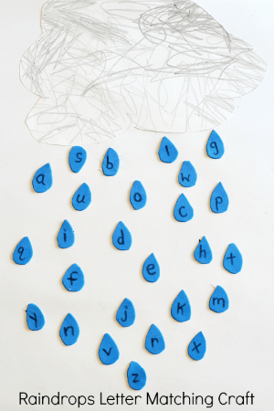 Raindrops Letter Matching Craft. Preschool weather craft and alphabet activity!