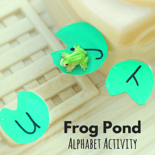 Lily pad alphabet activity in the water table