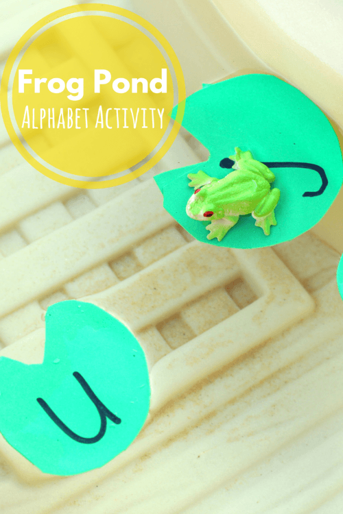 Frog Pond Alphabet Activity. Fun water play activity for learning letters.