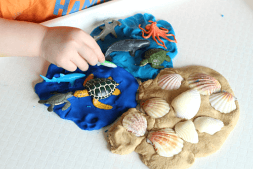 Ocean play dough invitation with sand play dough recipe! Fun science and sensory activity!