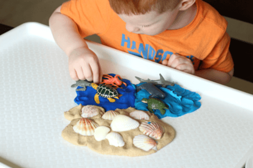 Playful preschool science activity about the ocean habitat