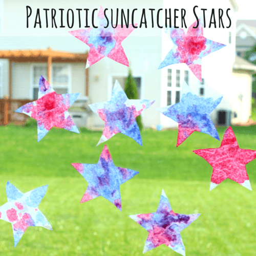 Put red, white and blue coffee filter stars on the window with clear tape. Now you have beautiful suncatchers!
