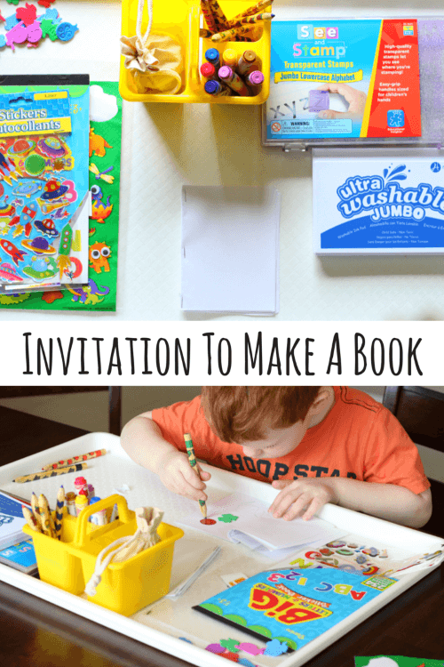 Invite preschoolers to make books with this fun set up!