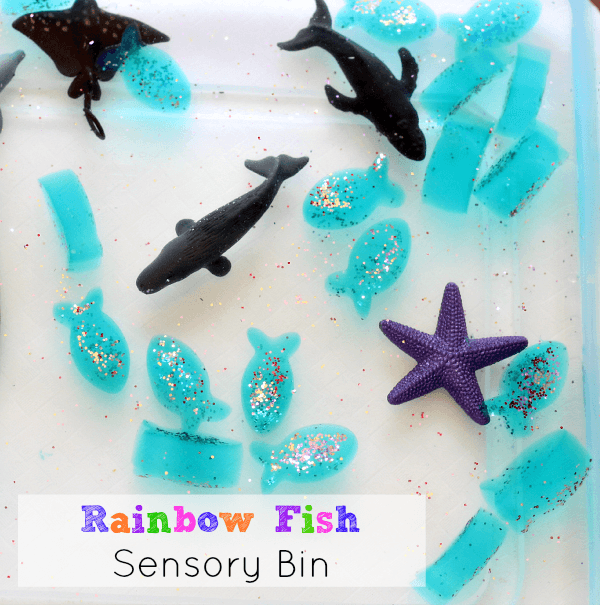 Rainbow Fish in an Ocean Sensory Bin