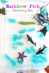 Rainbow Fish Ocean Sensory Bin. Fun extension activity for the book!