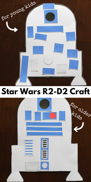 Star Wars R2-D2 craft for kids. Two version and printables included!