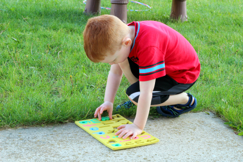 Put the alphabet letters back in the puzzle board.