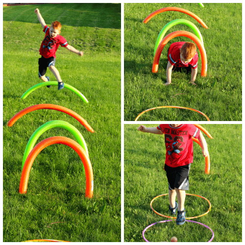 Preschool gross motor and letter learning fun for the summer!