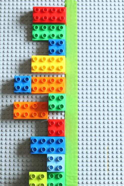 Hands-on preschool math lesson on symmetry with LEGO