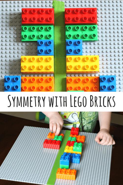 Preschool math activity that uses LEGO to teach symmetry.