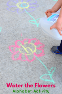Water the Flowers Alphabet Activity. Preschool letter learning activity you can do outdoors.