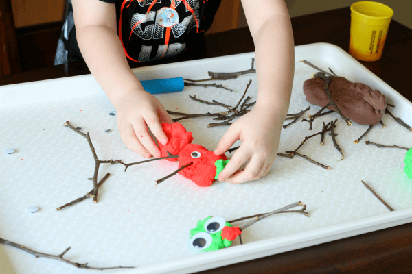 Gather twigs and use them to play with play dough.