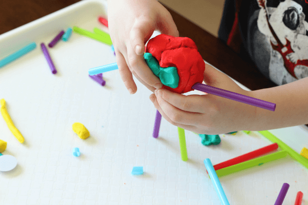 Fine motor activity cutting straws and play dough for Playdough fine motor skills