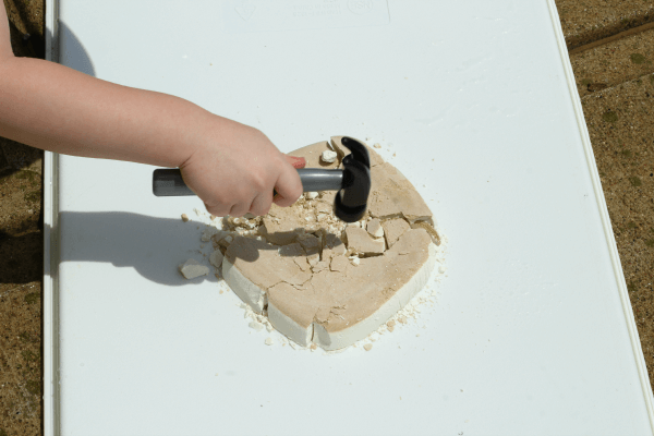 Use tools to excavate dinosaurs when you do this fun dinosaur activity!