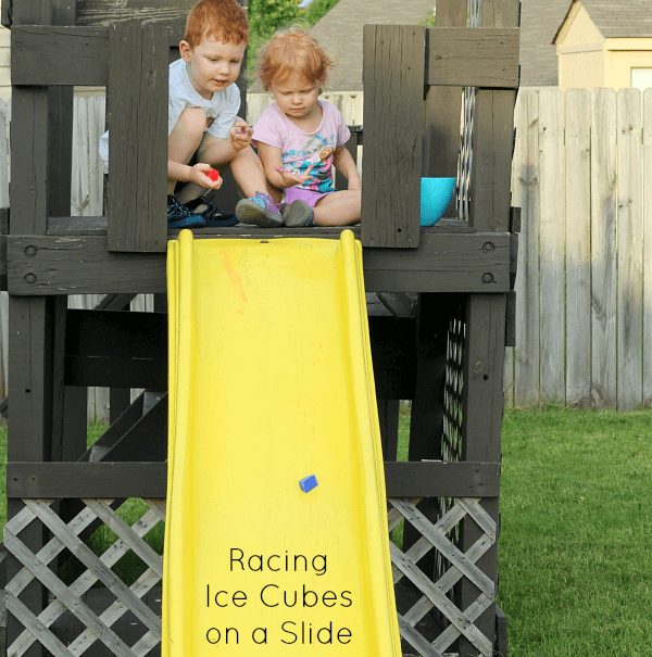 A fun summer activity for kids: Racing Ice Cubes on a Ramp