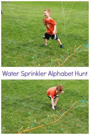 Teach ABCs with an alphabet hunt in a water sprinkler!
