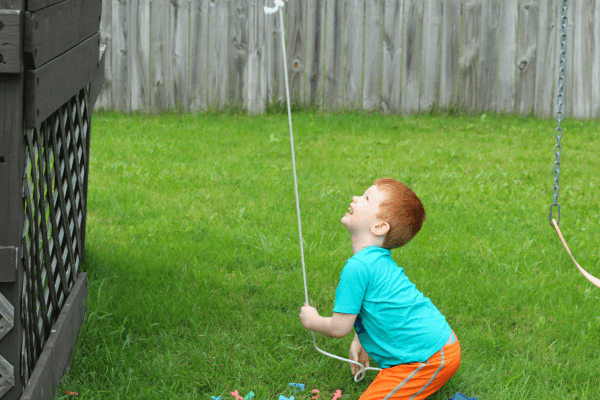 Kids will use a rope pulley to learn letters!