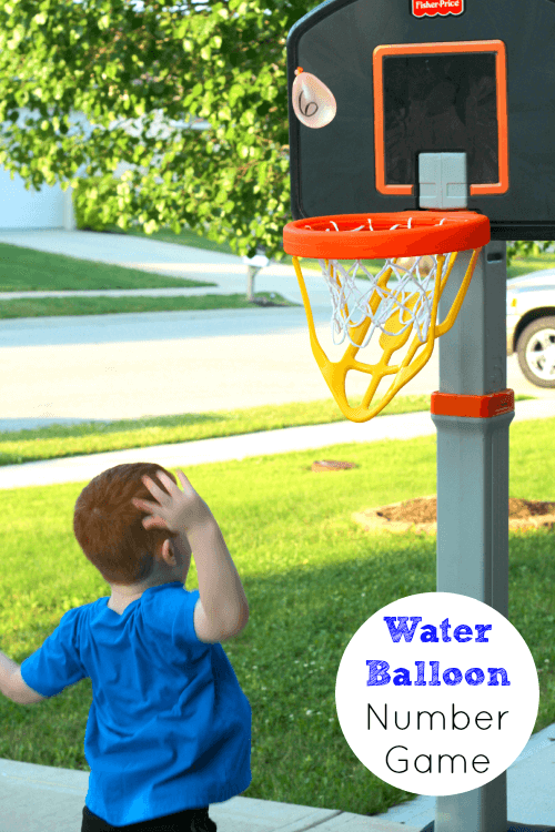 Preschool number learning activity with water balloons!