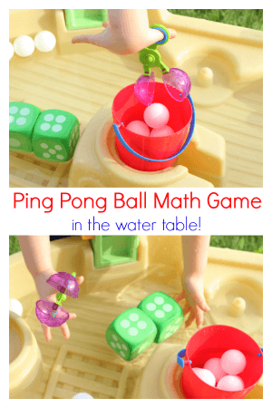 This ping pong ball math game is a fun way to learn and play in the water table. It is an excellent math activity for summer!