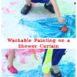 Preschool Art Activity: Washable Painting on a Shower Curtain