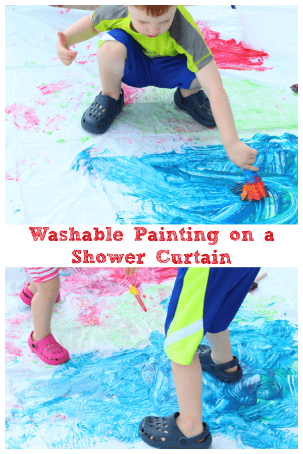Painting on a shower curtain is a fun summer art activity for preschoolers!