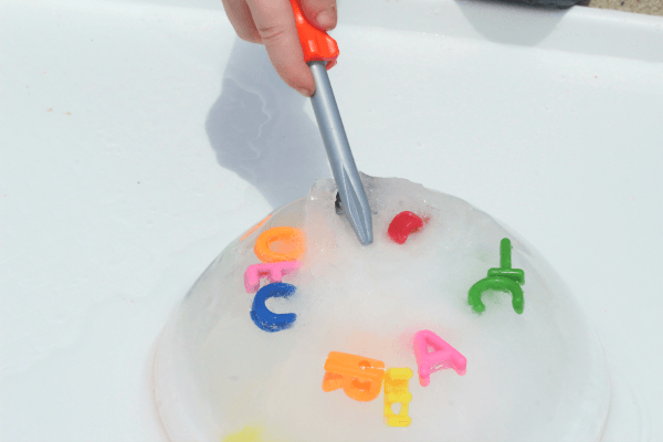 Excavate ice to reveal a hidden message.