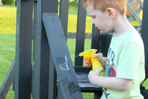 Hunt for letters and spray them with water!