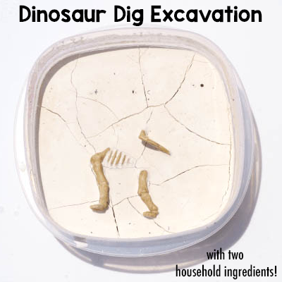 This dinosaur excavation activity is so easy to make! You only need two household ingredients to make it. It's a fantastic hands-on science and fine motor activity!