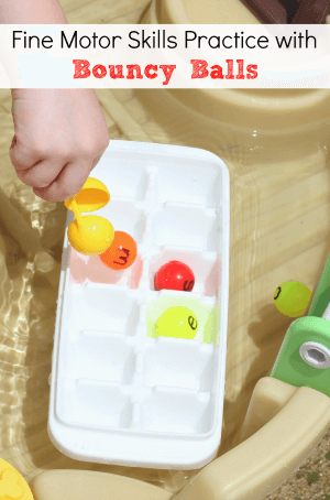 Kids will have fun developing fine motor skills with bouncy balls in the water table!