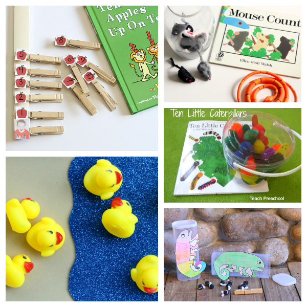 Book extension activities for teaching early math skills.
