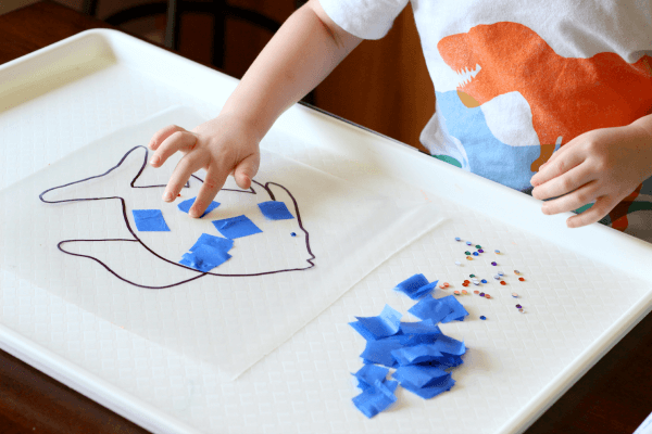 The Rainbow Fish sticky paper craft for kids.